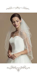 2-Tier Wedding Veil Waist Length Short Bride Hair Accessoies Bridal Tulle with Comb and Pencil Edge