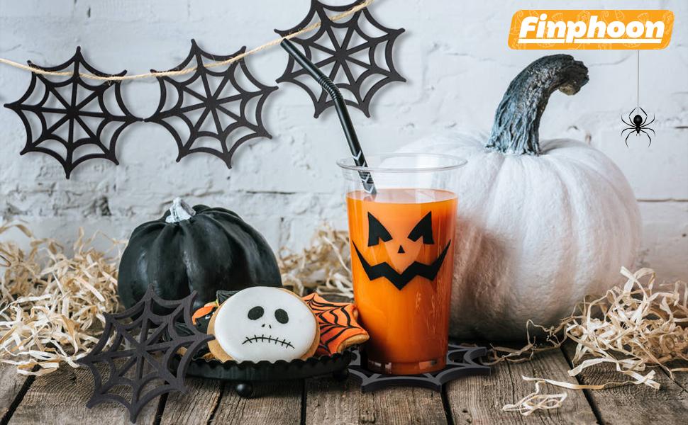 Halloween Black Spider Coasters Sets
