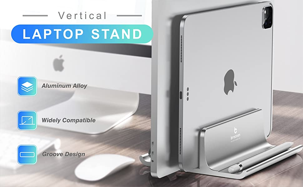 Vertical Laptop Stand-Silver
