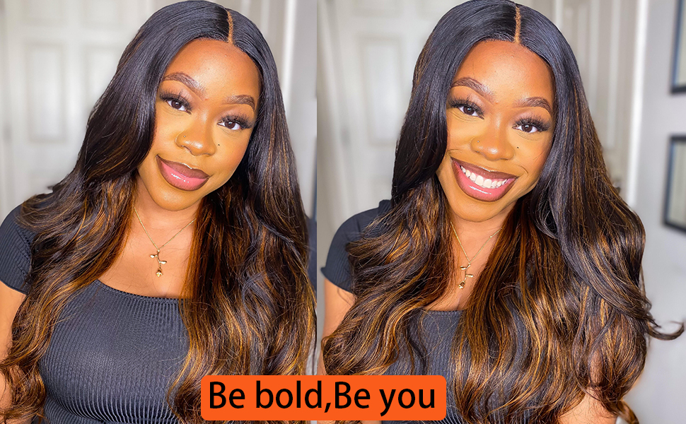 FB colored ombre human hair lace front wigs
