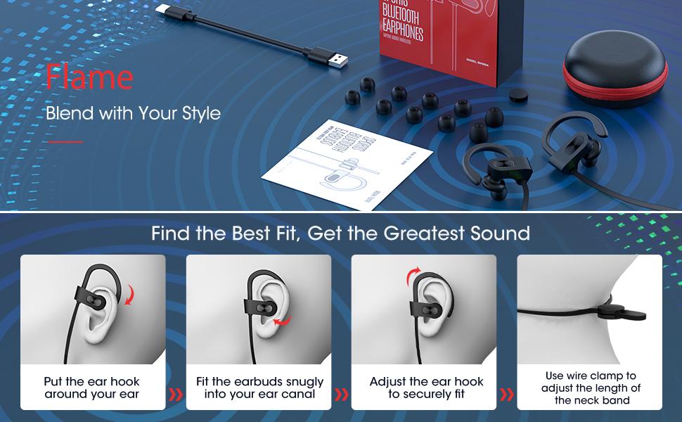 Wireless Headphones  Wireless Sports Earphones noise canceling microphones