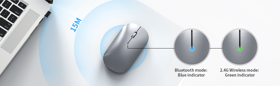 multi mode mouse with indicator