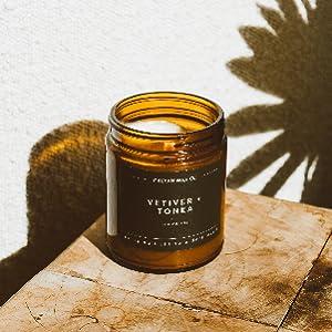 Amber jar yoga studio office gift candle