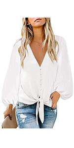 Women's Casual Long Balloon Sleeve V Neck Loose Button Down Shirts Tie Knot Tops Blouse