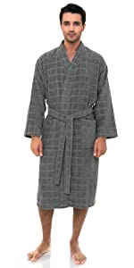 TowelSelections Mens Robe, Fleece Cotton, Terry-Lined Water Absorbent Bathrobe