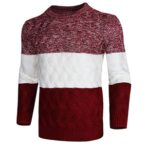 cogild wine red color block knit pullover sweaters for men
