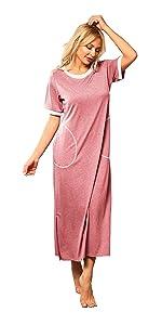 Women Nightgown Soft Short Sleeve Nightdress Long Sleepwear Nightdress with Pockets Casual Wear