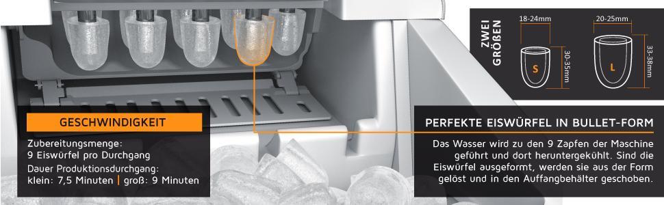 Machine à glaçons en acier inoxydable – Bac à glaçons 2,2 litres – 9 grands glaçons en 9 minutes