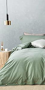 JELLYMONI 100% Washed Cotton Duvet Cover Set