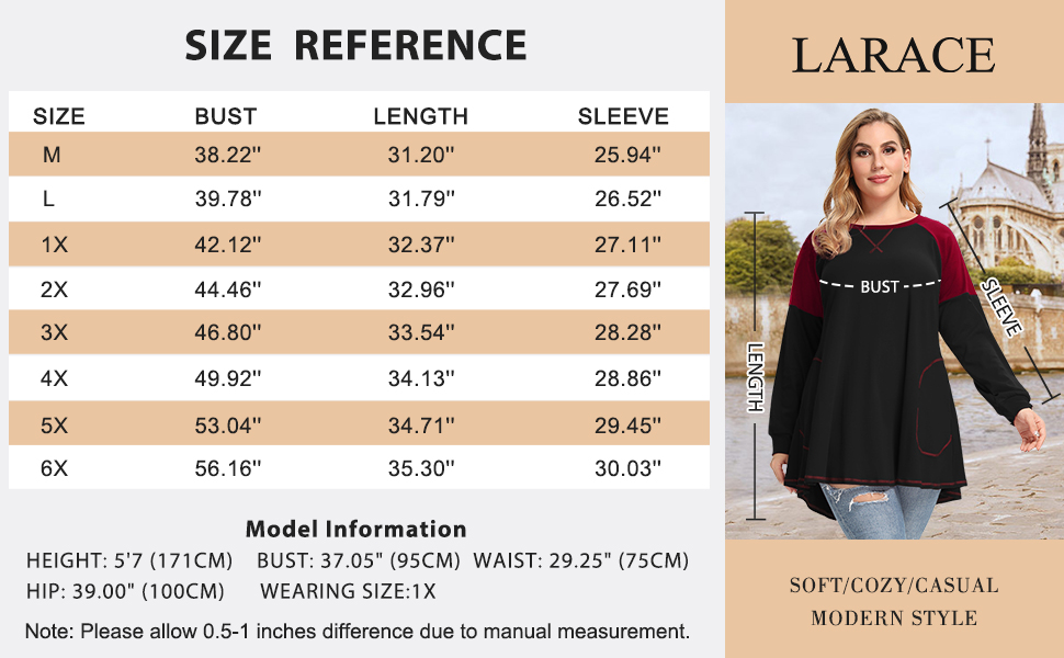 8102 Size Chart Of Women Lightweight Pullover Long Sleeve Tunic Shirts