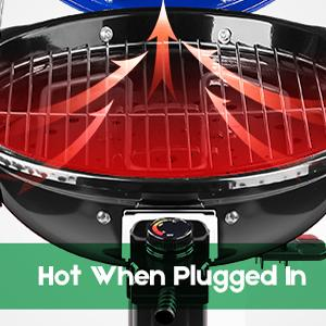 15Serving Electric Grill Indoor/Outdoor Electric BBQGrill 240'' Nonstick Removable Stand Grill 1600W