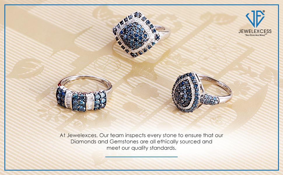 1.00 Carat Blue Diamond Statement Rings