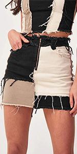PAODIKUAI Womenamp;#39;s Patch Color Block Bodycon Denim Mini Skirt Raw Hem Jean Skirt