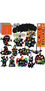 Magic Color Scratch Halloween Ornaments with Envelopes and Stickers Craft Kit
