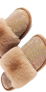 Womens Rhinestone Fuzzy Slippers indoor outdoor ,Comfy House Shoes Anti-slip Sole Fluffy Slippers