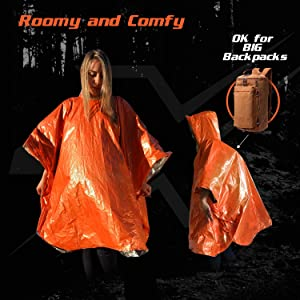 Vcansion Unisex Outdoor Products Ripstop Raincoat Poncho Mylar Space Blankets