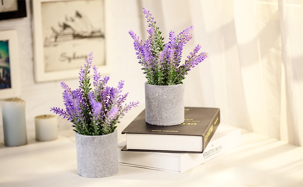 Lavender Flowers Artificial for Women Desk Office Decor Table Centerpiece Farmhouse Table Decor