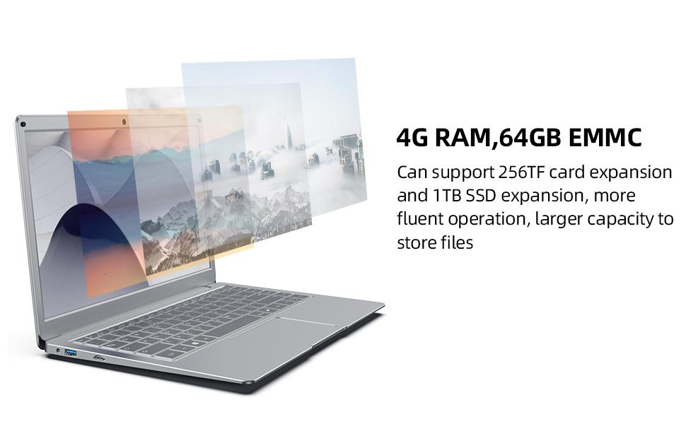 RAM:4GB,ROM:64GB laptop