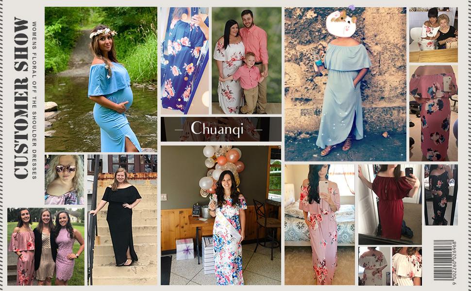 Womens Summer Floral Off The Shoulder Dresses Causal Flowy Beach Long Maxi Dress