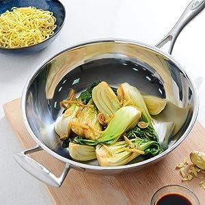 cuisine cuisson saine wok sans revêtement inox compatible induction sauter nouilles légumes