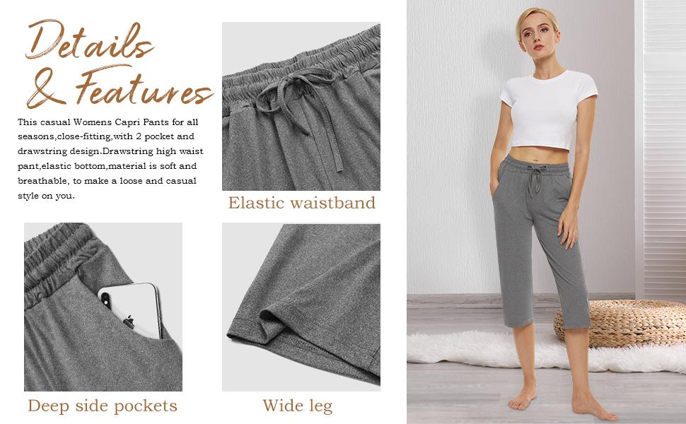 Capri Yoga Pants for Women Wide Leg with Pockets