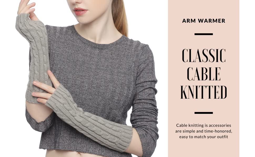CLASSIC CABLE KNITTED ARM WARMER