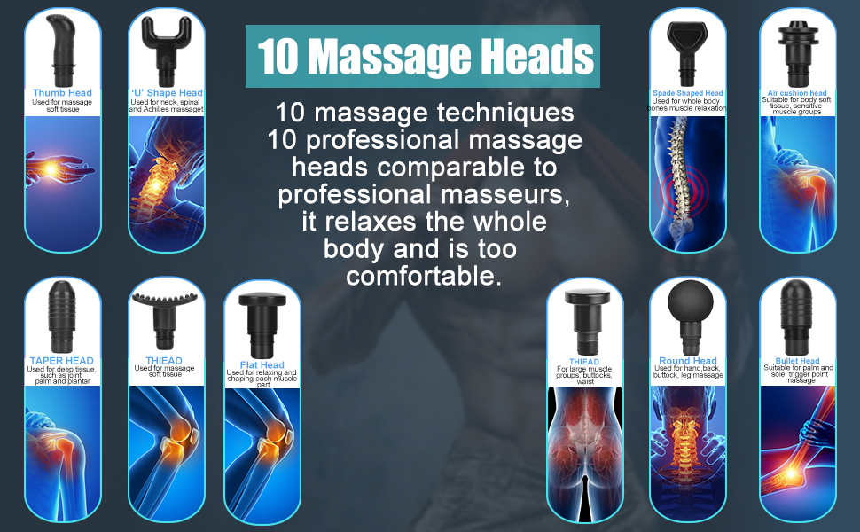 Massage Gun with 10 replacement heads