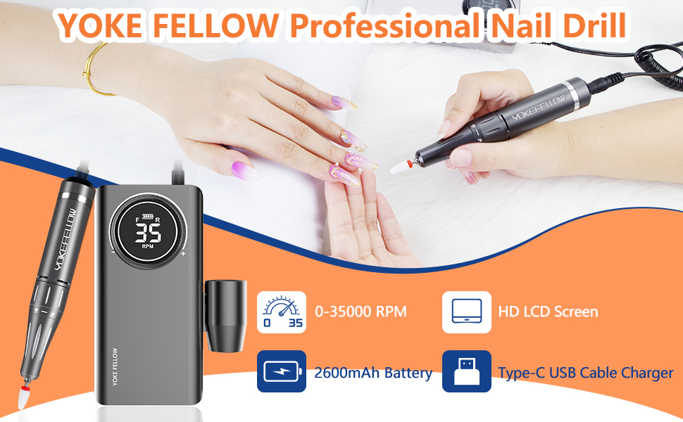 YOKEFELLOW Rechargeable 35000 RPM Nail Drills for Acrylic Nails