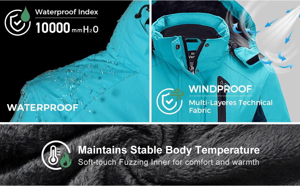 Women's Waterproof Parka Windproof Ski Jacket