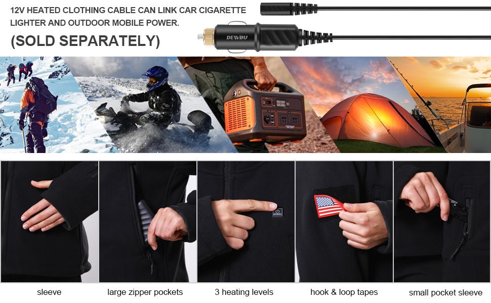 men 12V heated jacket cable