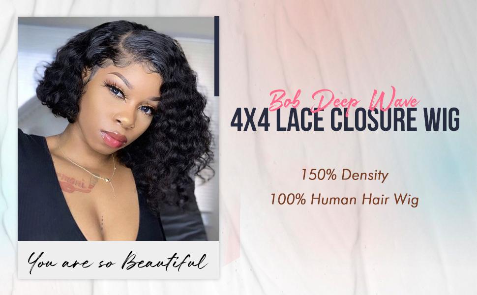 Bob Deep Wave 4x4 Lace Closure Wig