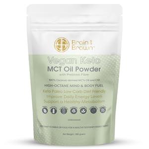 Brain and Brawn Vegan Keto MCT Oil Powder with Prebiotic Fibre