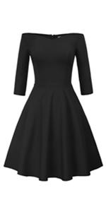Women 50s Vintage Hepburn Retro Off Shoulder A-line Dress Stretchy Swing Fancy Party Cocktail Dress