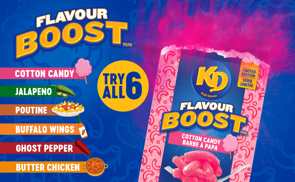 KD Flavour Boost Cotton Candy Jalapeño Poutine Buffalo Wings Ghost Pepper Butter Chicken