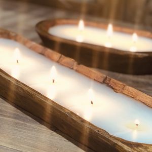 Lux Fragrances picture of 3 and 5 wick wooden dough bowl candle