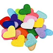 colorful heart iron on patches applique
