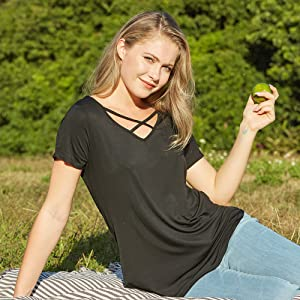 classic sexy black tshirt for women ladies with sleeves