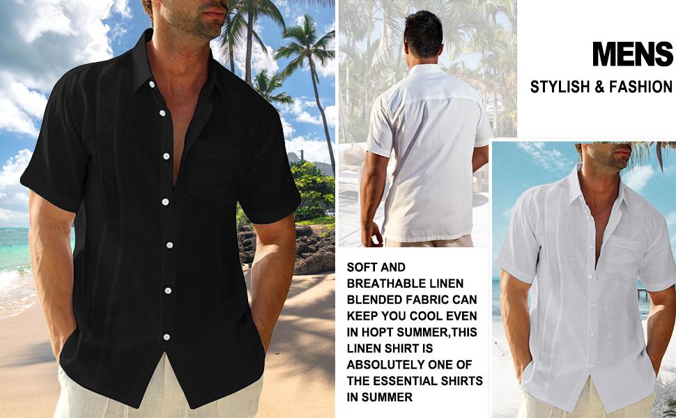 LVCBL Men Linen Henley Shirts Polo neck Henley Shirts Casual Standard Fit Short Sleeve