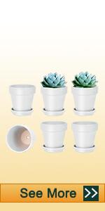 6pcs 4 inch white clay pots