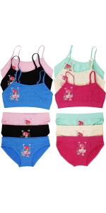 girls pack of six spaghetti cami strap matching sets bikini boyshort panty panties training bra