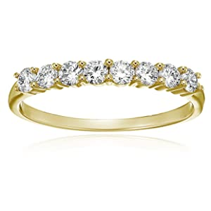 Vir Jewels 1/2 cttw Diamond Wedding Band in 14K Yellow Gold 8 Stones Prong Set