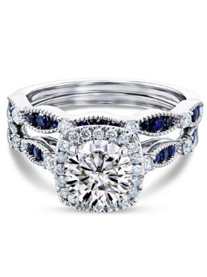 Kobelli Round Moissanite and Blue Sapphire Bridal Set (HI/VS)