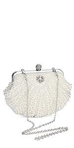 Damen Abendtasche Weiß Clutch Perlen Handtasche Kleine Elegant