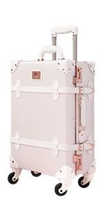rose white suitcase