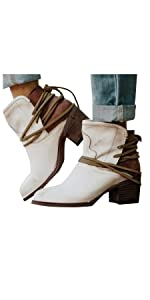 Platform Boots for Women Round Toe Wedges Heel Ankle Booties