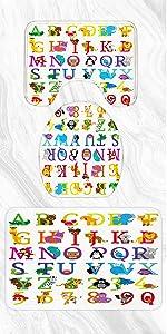 Alphabet Bathroom Rugs and Bath Mats Set 3 Piece