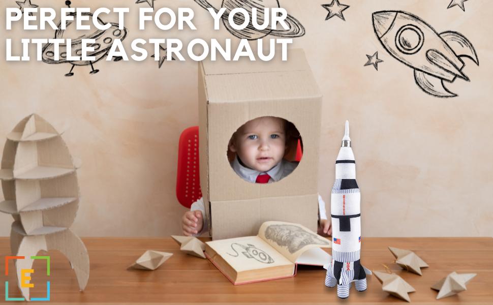 Toys Stuffed Plushies Plush Realistic Ultra Soft Safe Kids ages 3 above NASA rocket ship 18 inch