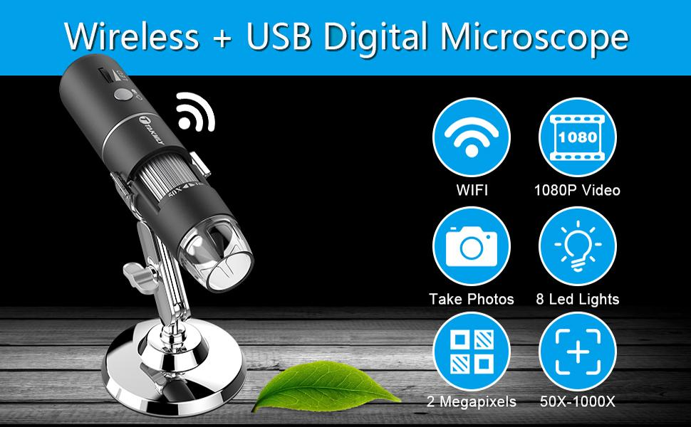 Wireless Digital Microscope Handheld USB HD Inspection Camera 50x-1000x Magnification with Stand