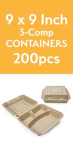 "9"" 3-comp togo container"