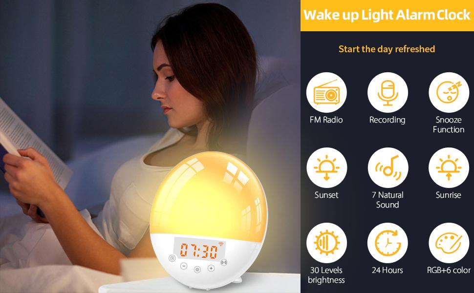 Réveil Larkotech Wake Up Light Alarme de lever de soleil intelligente